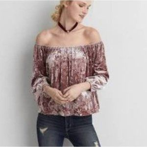 AEO |Pink Velour off Shoulder Top |x-small